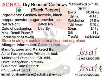 Black Pepper Roasted - Cashew Kernels
