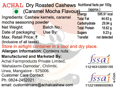 Caramel Mocha Flavoured - Cashew Kernels