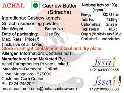 Cashew Butter - Sriracha Flavoured