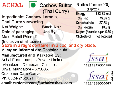 Cashew Butter - Thai Curry Flavoured