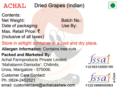Dried Grapes, Indian