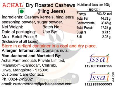 Hing Jeera Flavoured - Cashew Kernels