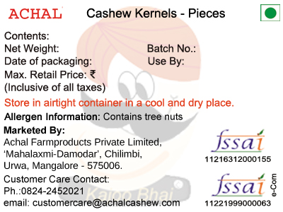 Jumbo Halves (JH) - 2 Pieces - Cashew Kernels