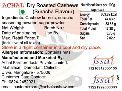 Sriracha Flavoured - Cashew Kernels